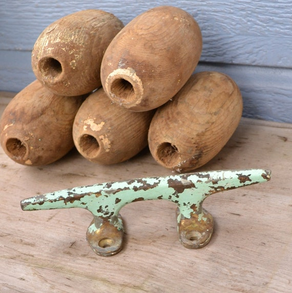 Vintage Turquoise Brass Boat Dock Cleat