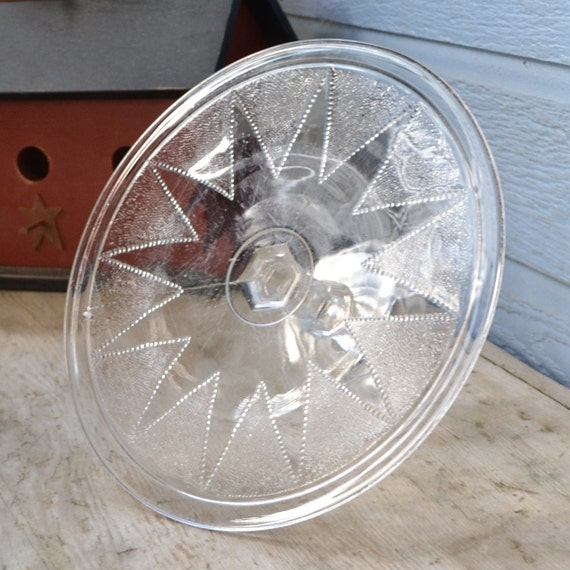 Vintage Clear Cake Stand in Dewdrop in Points Pattern, Star