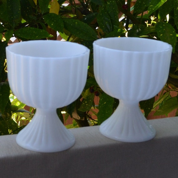 A Pair of Milk Glass Planters with Simple Lines