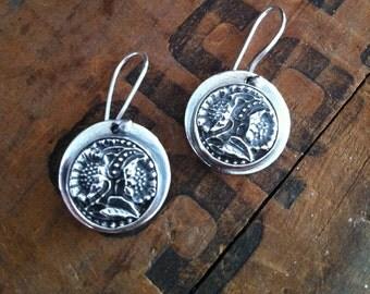 Silver button Sunflower earrings