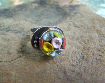 German glass reverse painted bubble ring size 8 1/2,flower,floral,one of a kind,handcrafted,hippie,festival