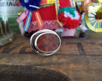 One of a kind Jasper slab modernist ring size 9