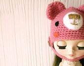 Bear hat for Blythe pink