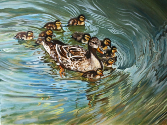 Original Oil Painting of Ducks