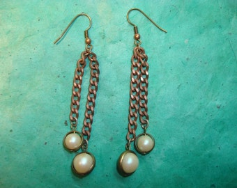 Vintage Japanese Faux Pearl and Chain Earrings