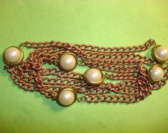 Vintage Japanese Brass Chain with Pearl Stations