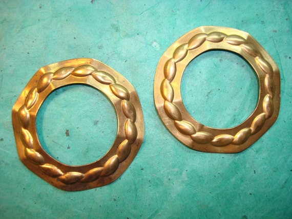 Vintage Brass Folded Hoops with Raised Design