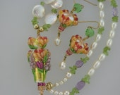Reserved - Peach Garden Delight Earrings, LCJ