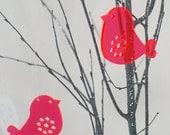 2 Birds - in neon red transparent plexiglas