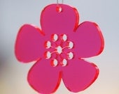 5 Spring Flowers - in neon red plexiglas