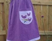 Hemp organic cotton blend hand dyed aline skirt, Three Little Birds applique SALE