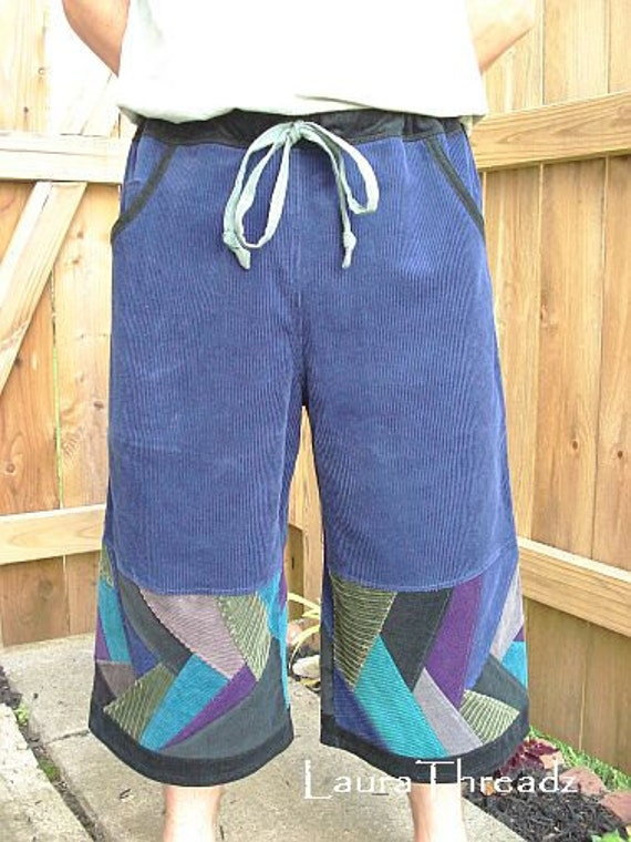 Mens hippie patchwork shorts, blue corduroy long angler shorts with pockets