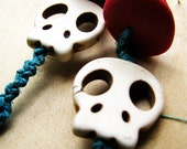 Gemstone Day of the Dead Skull Beaded Hemp Earrings