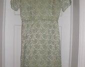 Vintage 1950s Green Floral Sheen Dress XXS