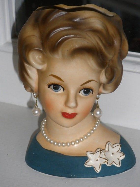 Vintage lady head vases