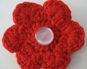 Red Flower Valentine's Day Brooch with Vintage Button - HAITI EARTHQUAKE RELIEF