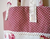 waverly norfolk rose tote with red gingham and lace trim