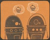 Robot art, robot print, Limited Edition Hand Pulled Print, nursery art, scifi art print, cupcake art