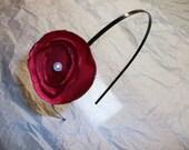 Red Satin Flower - Metal Headband