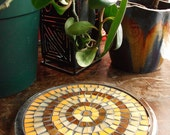 Mosaic Trivet with Amber and Orange Stained Glass