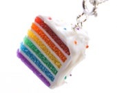 Rainbow cake necklace