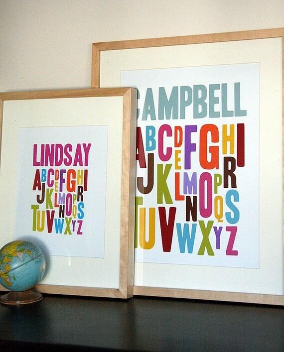 13 x 19 Alphabet Print - 6 Colour Choices