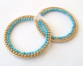 Turquoise and Gold Hoop ON SALE
