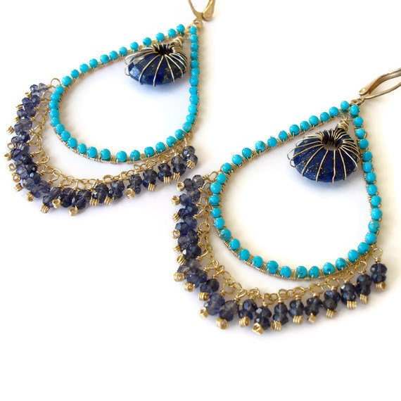 Turquoise and gold chandelier earrings, Lapis, Quartz earrings wire wrapped one of a kind
