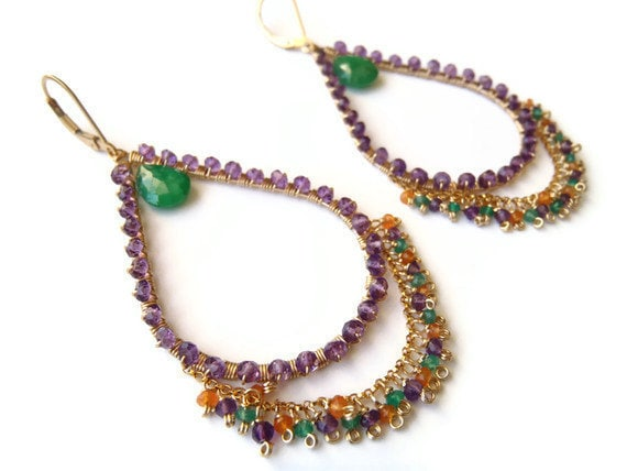 SALE Emerald, green quartz, carnelian, amethyst earrings