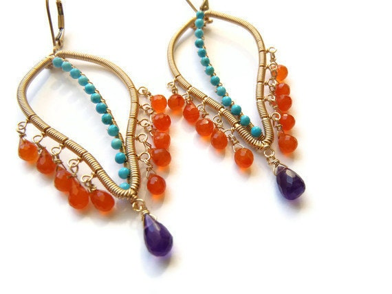 Carnelian, turquoise and amethyst leaves