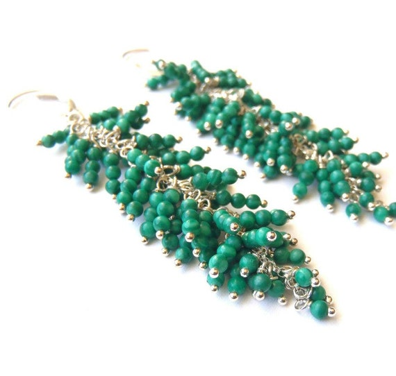 Green earrings Malachite dangle earrings Featured at LuckyMag.com SALE