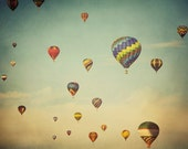 "Hot Air Balloon Photography Print, Nursery Decor, Kids Wall Art, Whimsical Summer Decor, Pastel Art, Blue Sky ""Floating in Space"""