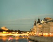 SALE - 40% OFF - Love Along the Seine - Paris Photography, Valentine, Romantic Hearts, Bridge, Blue Night, Twilight