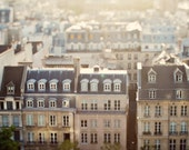 Paris Photography, Rooftops, Dreamy Travel Photo, French, Neutral Colors, Brown, Cafe Au Lait - Dans Mon Reve de Paris