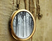 Photo Locket - Ink and Snow - Winter trees in snow and fog- Oval Art Locket - Grande Edition - Rustic,