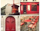 """SALE Red Paris Prints, Paris Gallery Wall Art Prints, Red Paris Photography Collection, Red Art, Travel Photography, Wall Decor """"Rouge"""""""
