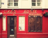 Chez Marie, Paris Photo, Romantic Travel Photography, Valentines Day, France, Bistro Restaurant in Red and Creamy White, 8x8