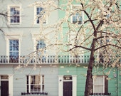 I Love London in the Springtime - London Photo, Spring Blossoms, Mint Green, Mother's Day, Home Decor, Windows, Notting Hill - EyePoetryPhotography