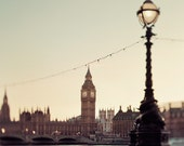 London Love Poem - London Photography, Big Ben, Victorian, Lamp Post, Westminster, River Thames, Clock Tower, Travel Photography, 8x8