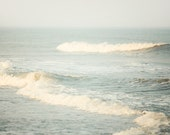 Ocean Wave Photograph, Sea, Nautical, Summer, Nature Photography, Minimal, Simple, Blue - The Sound of Waves - EyePoetryPhotography