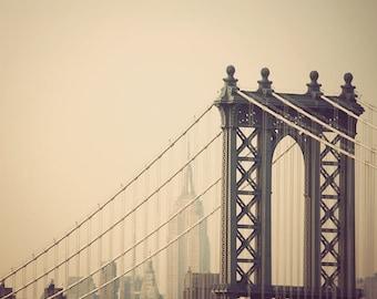 Manhattan Bridge, Empire State Building, New York City Photography, NYC Skyline, Architecture Art, 8x8 - First We Take Manhattan