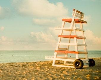 """Striped Life Guard Chair, Beach Decor, Ocean Art, Sea, Nautical Decor, Summer Vacation, Beach Photo, 8x8, """"Summer is When ..."""""""
