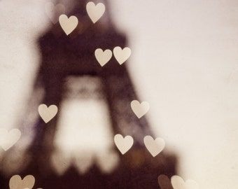 "Paris Photography, Pink Eiffel Tower Decor, Large Paris Wall Art, Fine Art Photography Print, Hearts, Romantic Art ""City of Love"""
