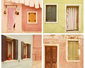 "SALE Italy Prints, Burano Houses, Set Of Four Prints, Italian Wall Art, Travel Photography, Polaroid Prints, ""The Pastel City"""
