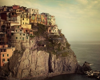 Italy Artwork, Cinque Terre Photograph, Italian Picture, Travel Print, Manarola Houses, Italy Decor, 8x8 - Postcard from the Edge