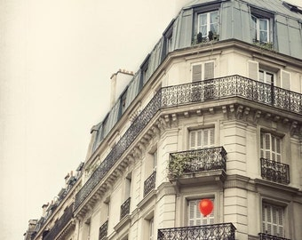 The Red Balloon, Paris Photography, Whimsical Art, Paris Apartment, Travel Photography, Romantic Art Print, White Wall Decor