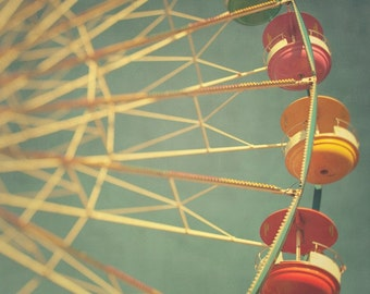 Ferris Wheel Photograph - Round and round - Fine art carnival photo, 8x8 - Summer fair
