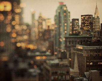 NYC Skyline at Night, Gold Art Print, New York Photography, Chrysler Building, Gold NYC Print, Urban Art Print 8x8 - City of Glass