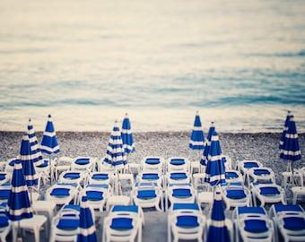 "French Riviera, Beach Photography, Blue and White Beach Umbrellas, Landscape, Summer Beach Art, Nice France, 12x12 Print ""Azure"""