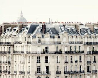 Paris Rooftops and Windows, Paris Photography, White Wall Art, Paris Decor, Architecture Print, 8x8, 12x12 - Bonjour Paris